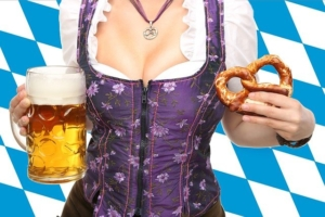 Beer, Dirndl and pretzel are typical things of munich and the oktoberfest