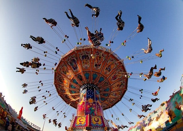On the Oktoberfest in Munich you can test your nerves on several rollercoasters before drinking your beer