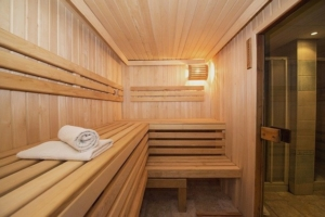 At the blue spa in Munich's Bayrischer Hot you can visit a relaxing sauna as part of their special wellness program
