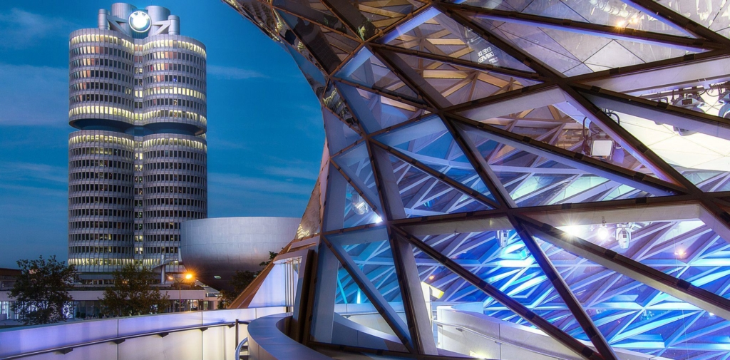 The architecture in Munich is modern and futuristic