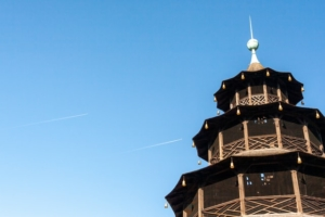 The Chinese tower in Munich is a tourist attraction for young and old