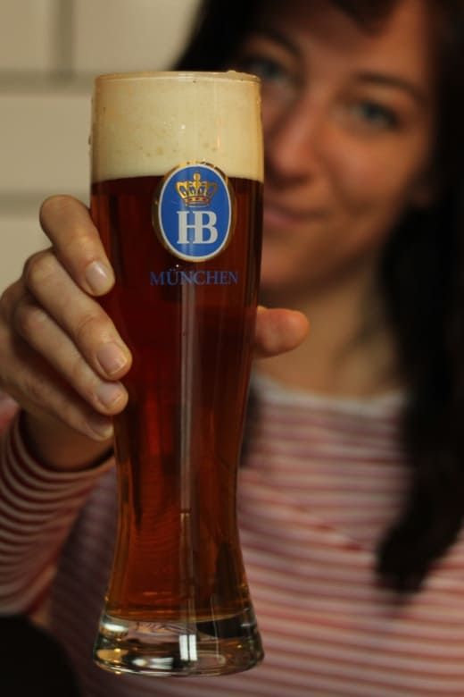 Woman with Munich beer
